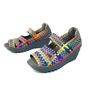 Bernie Mev Gray Rainbow Mary Jane Wedge Shoes